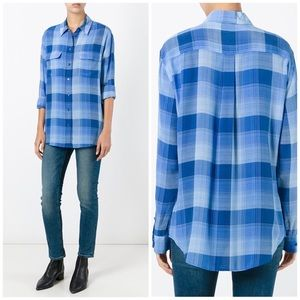 Equipment Blue Plaid Silk Pocket Blouse